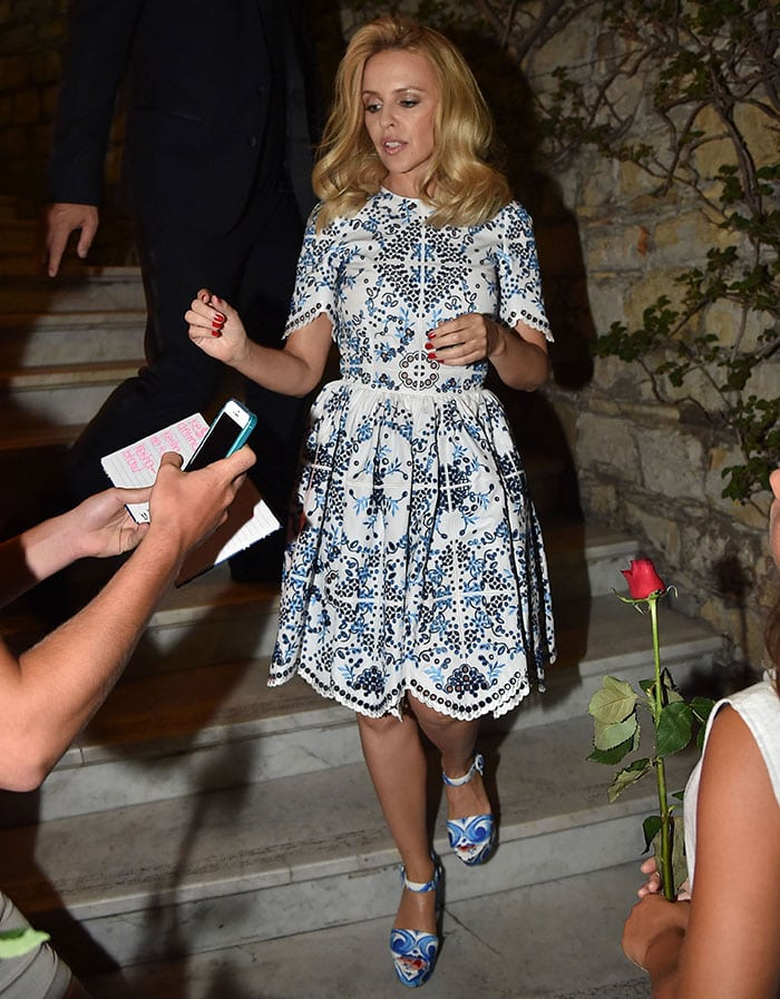 Kylie Minogue stepping out in Portofino, Italy, on Sunday evening prior to her performance at the Dolce & Gabbana Alta Moda Party