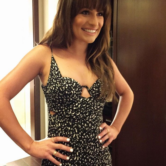 Lea Michele looked sexy in a fitted black-and-white printed dress