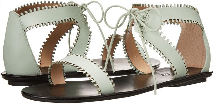 "Loeffler Randall ""Sofia"" Flat Sandals in Mint"