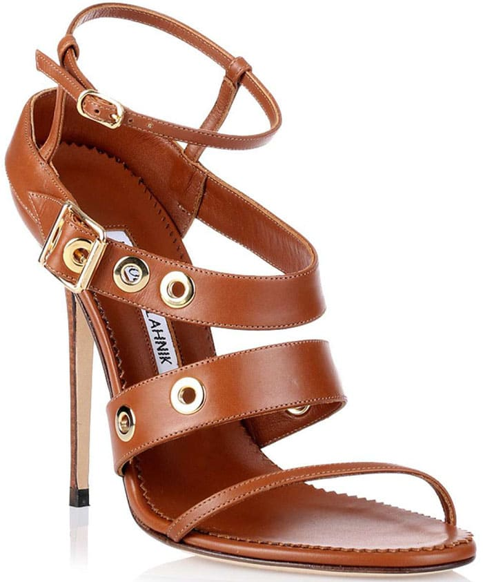 Manolo Blahnik Zilax Tan Leather Sandal