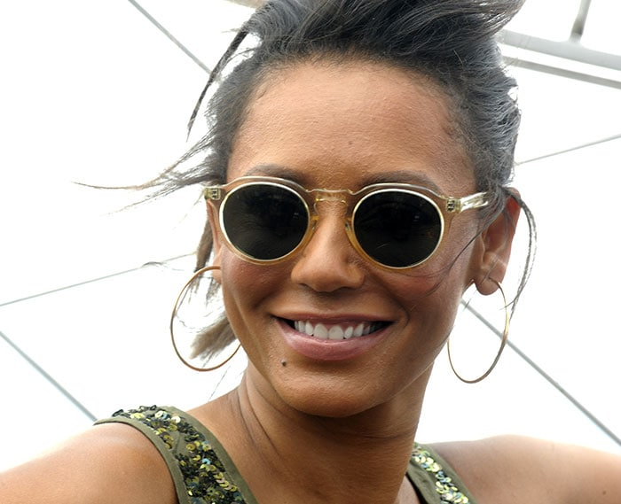 Mel B shielded her eyes with J. Crew retro sunglasses