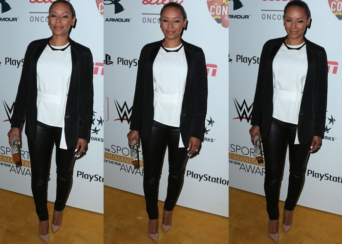 Mel B rocked leather pants with a white peplum top