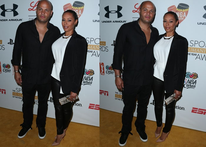 Mel B and her husband Stephen Belafonte arriving at the Sports Humanitarian of the Year Awards