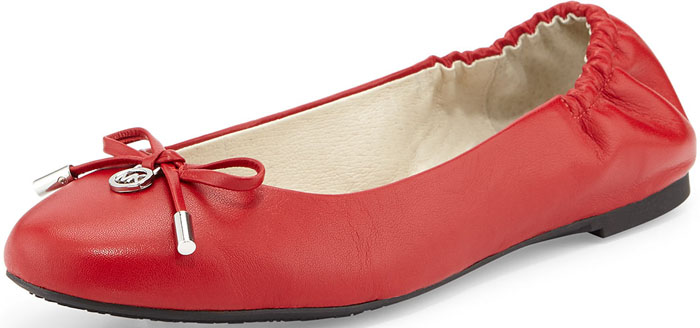 MICHAEL Michael Kors Melody Napa Leather Ballet Flat in Chili Red