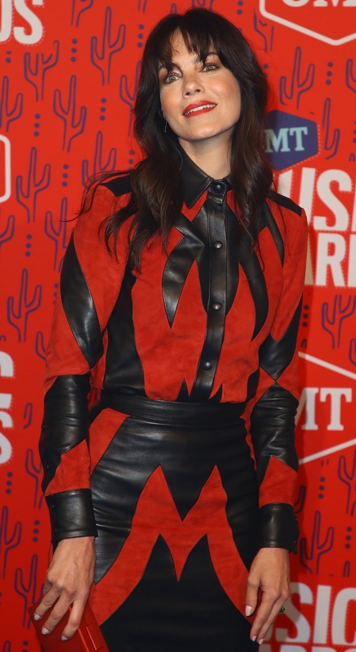 Michelle Monaghan rocked a black and red leather dress