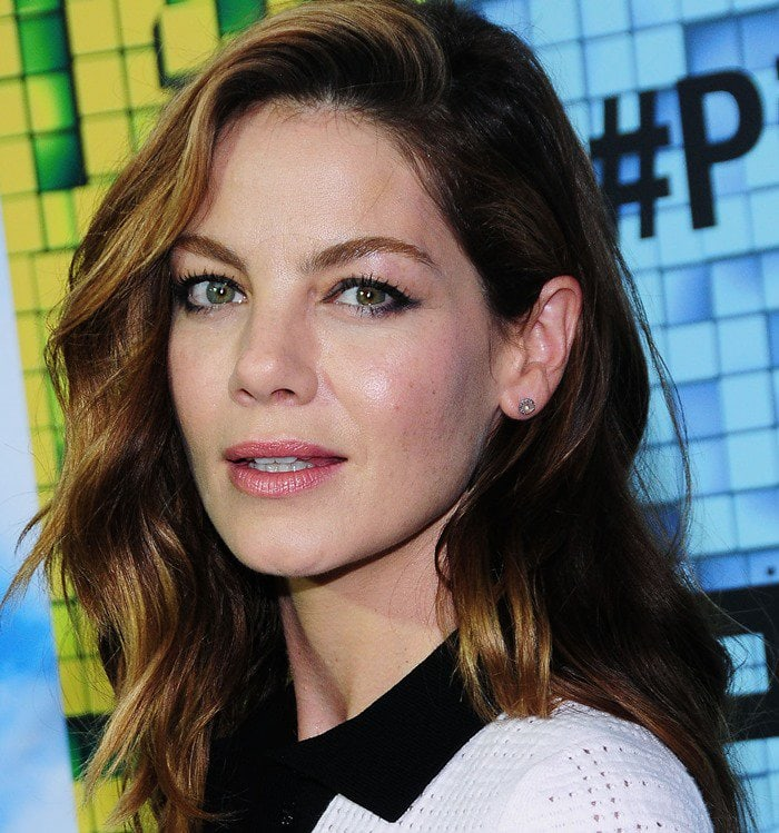 Michelle Monaghan shows off her Anna Sheffield champagne diamond studs