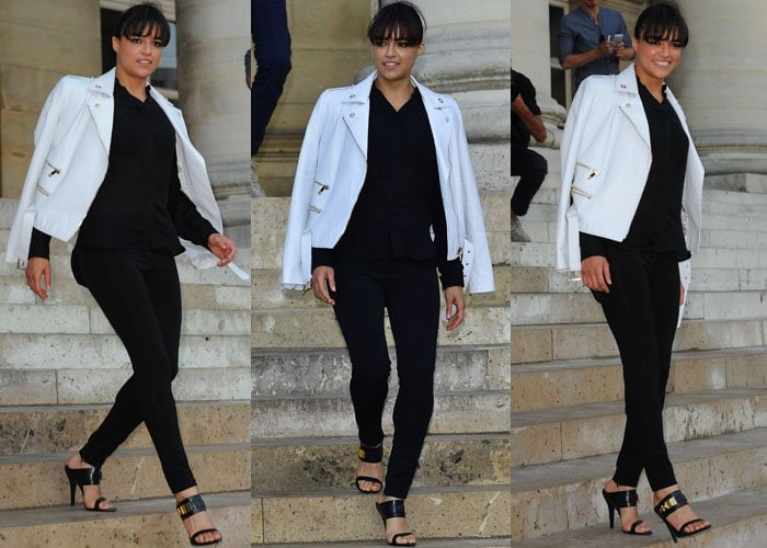 Michelle Rodriguez completed her look with gorgeous Anthony Vaccarello shoes