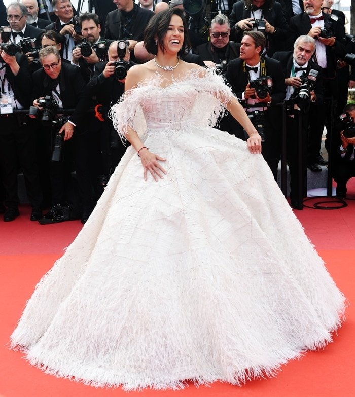 Michelle Rodriguez looked stunning in a white strapless gown at the premiere screening of Once Upon A Time In Hollywood