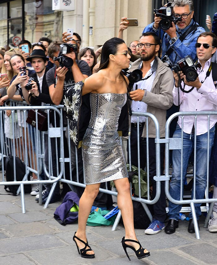 Michelle-Rodriguez-silver-Jean-Paul-Gaultier-dress-Paris-Fashion-Week