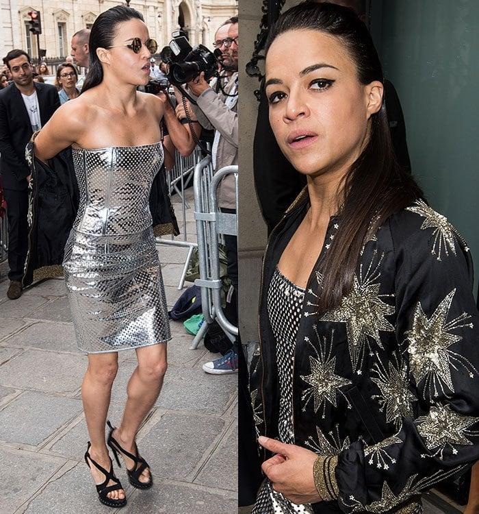 Michelle-Rodriguez-silver-mini-dress-Paris-Fashion-Week