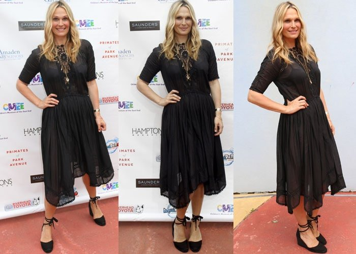 Molly Sims styled her black dress with matching espadrilles