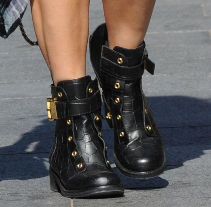 Myleene-Klass-Giuseppe-Zanotti-croc-effect-leather-moto-boots