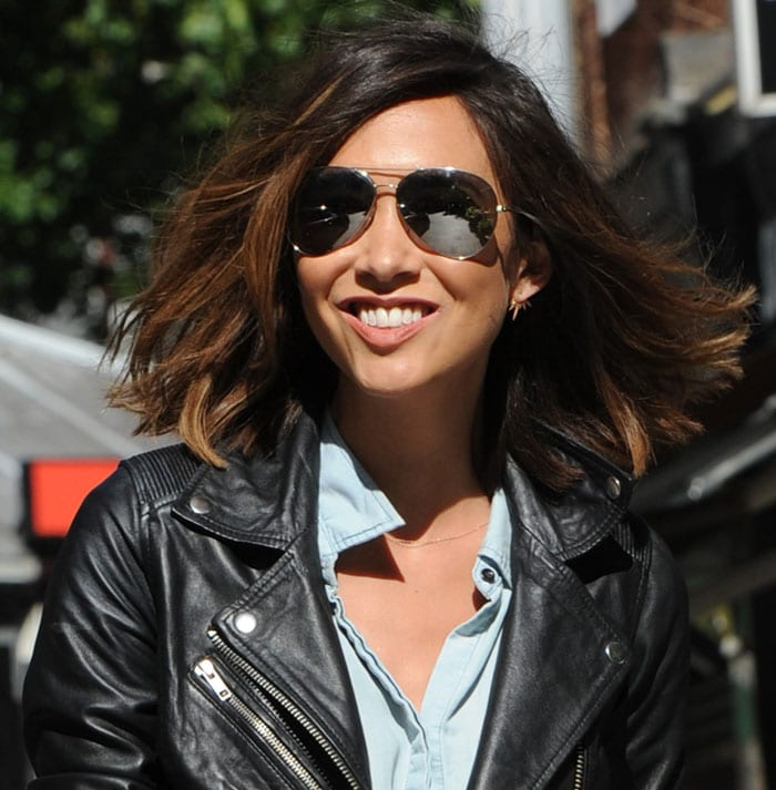 Myleene Klass' mirrored aviators and leather jacket