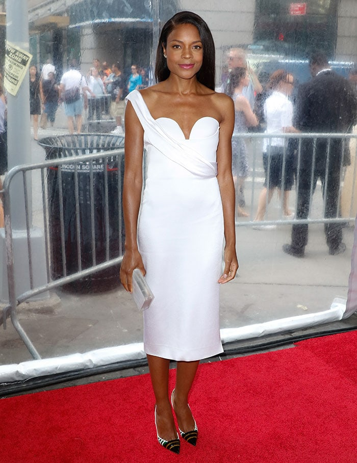 Naomie Harris flaunts her legs in a white-hot summery dress