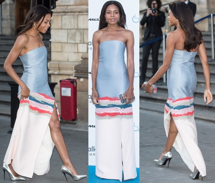 Naomie Harris in a colorful strapless dress from the Tory Burch