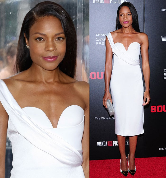 """Naomie Harris wore her hair down with a side part at the New York premiere of """"Southpaw"""""""