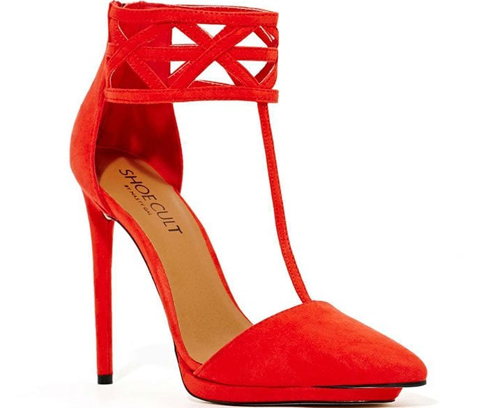 Red Nasty Gal Shoe Cult Cage Match Pumps