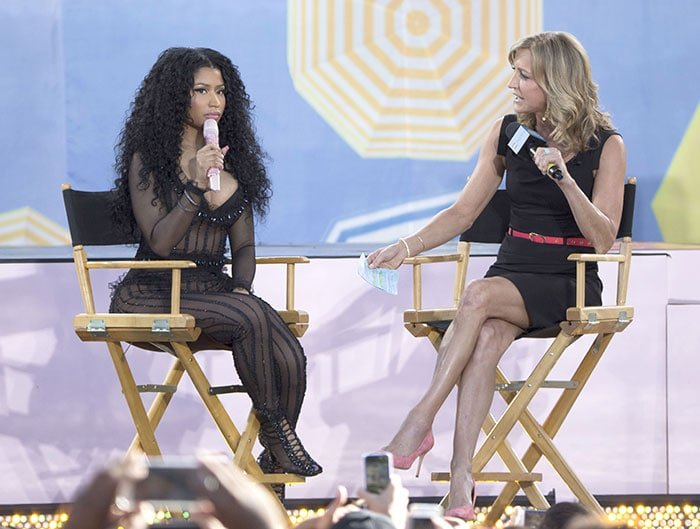 "Nicki Minaj being interviewed by ""GMA"" anchor Lara Spencer during the Summer Concert Series"