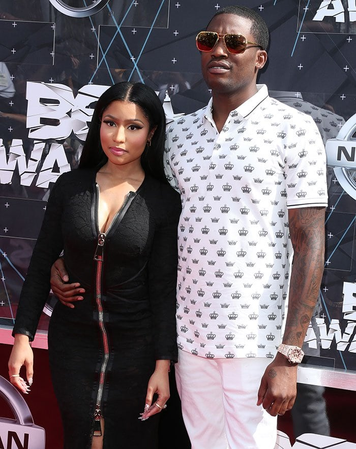 Nicki Minaj with Meek Mill at the 2015 BET Awards held at the Microsoft Theater in Los Angeles on June 28, 2015