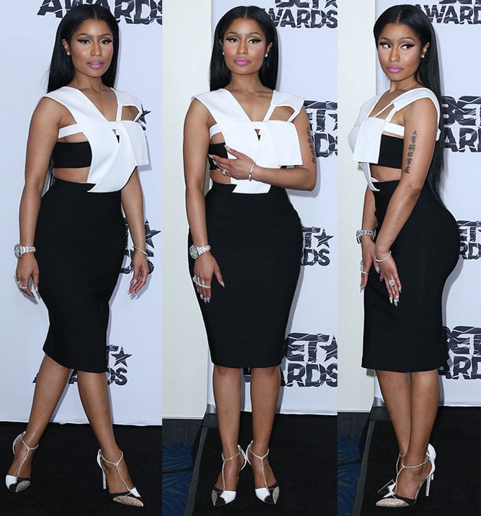 Nicki Minaj in a Mugler dress and Rene Caovilla pumps at the 2015 BET Awards press room