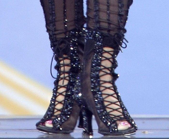 Nicki-Minaj-Sheer-Mesh-Glitter-Lace-Up-sandals-1