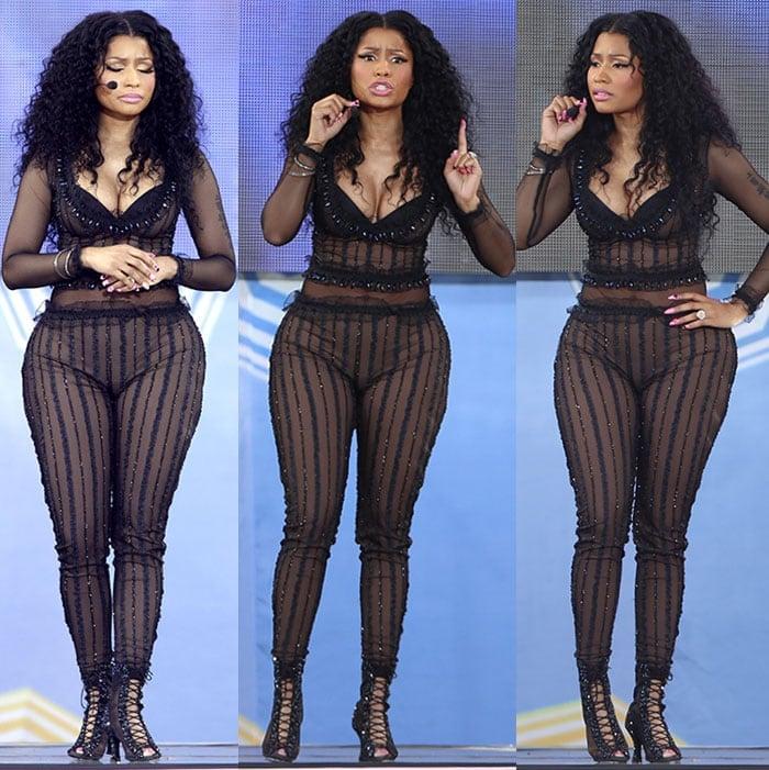 Nicki-Minaj-cleavage-risque-see-through-striped-bodysuit