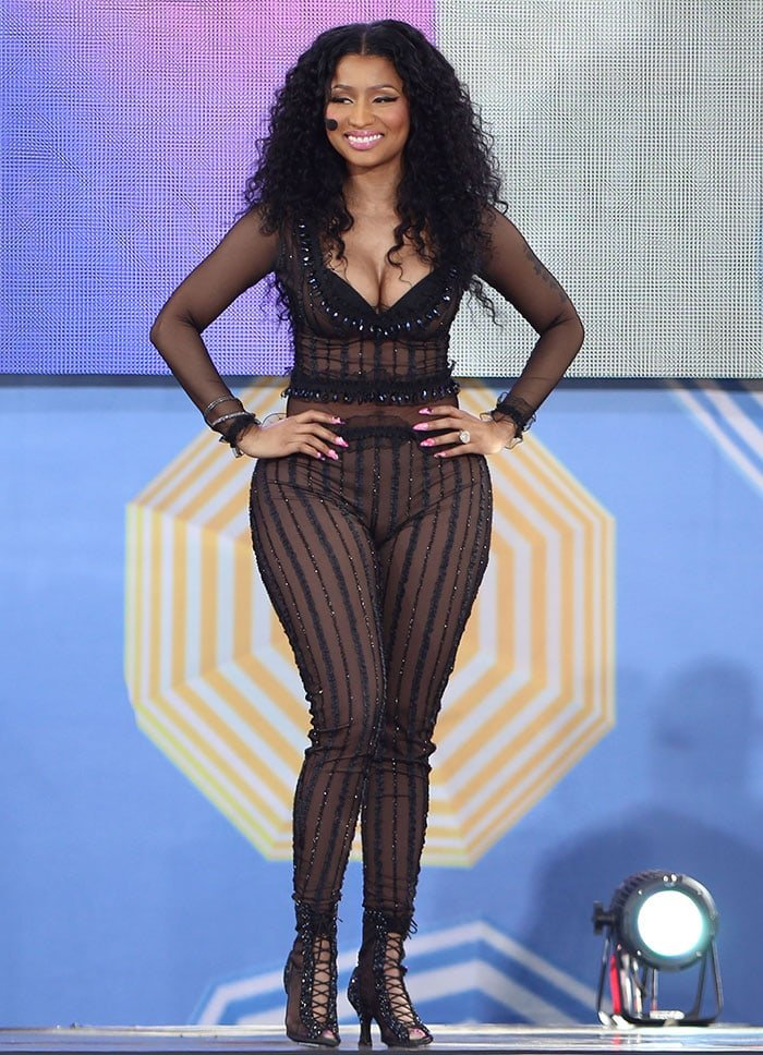 Nicki-Minaj-see-through-sheer-bodysuit-Good-Morning-America