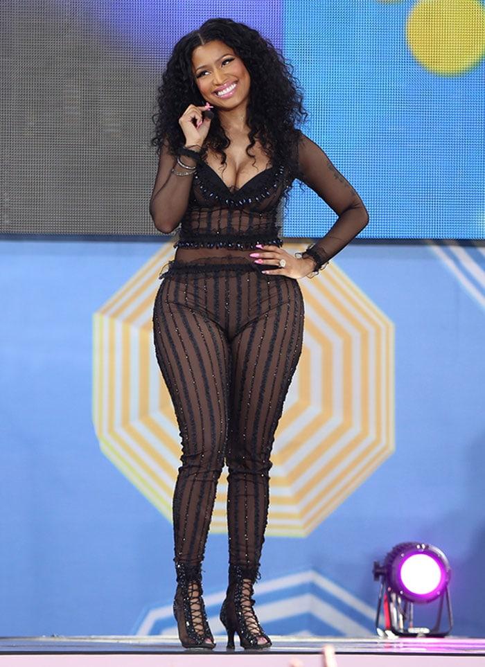 Nicki-Minaj-see-through-sheer-bodysuit-Summer-Concert-Series