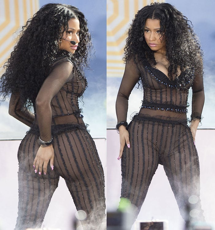 Nicki Minaj flaunts her famous ass in a see-through bodysuit