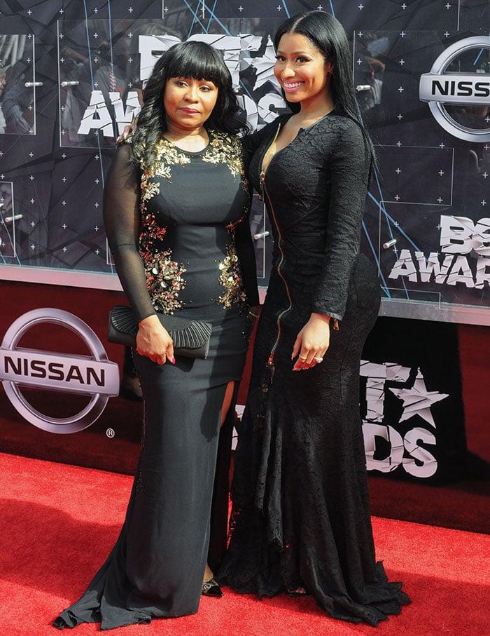 Nicki Minaj with her mom, Carol Maraj, at the 2015 BET Awards in Los Angeles on June 28, 2015