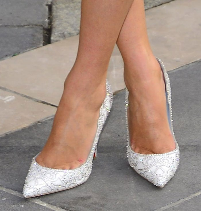 Nicky Hilton showing off her feet in Christian Louboutin Top Vague pumps