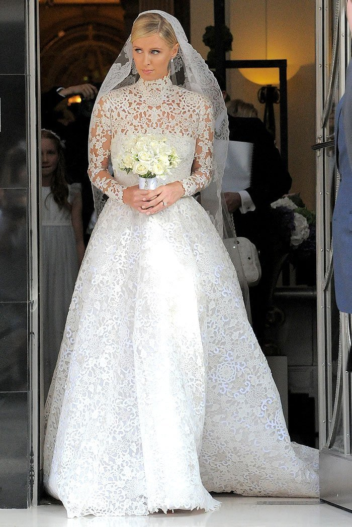 Nicky Hilton in her Valentino Couture wedding gown at Claridge's hotel and heading to her wedding to James Rothschild at Kensington Palace in London, England, on July 10, 2015
