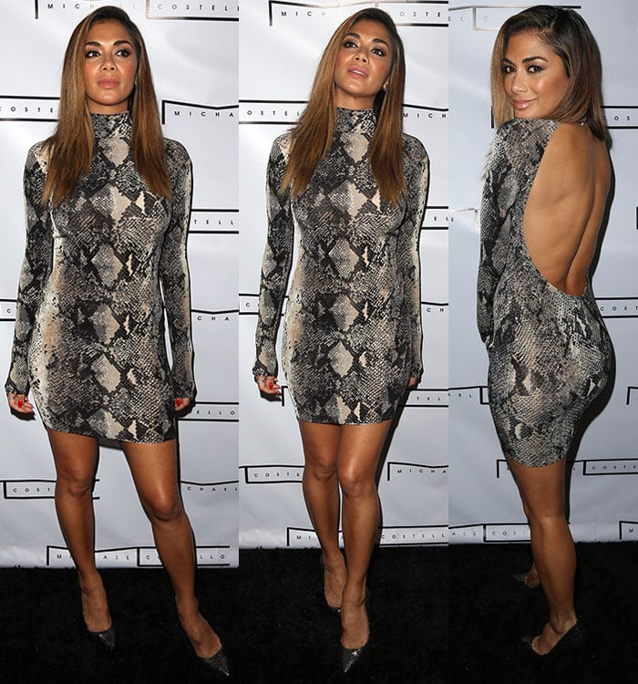 Nicole Scherzinger with shimmering eye shadow and glossy pink lips