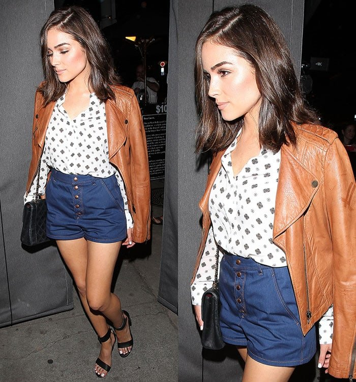 Olivia Culpo wears a brown leather jacket while out and about in Los Angeles