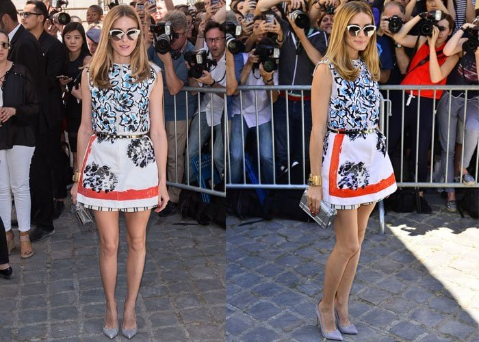 Olivia Palermo styled her Dior dress with classic reptile pumps from Francesco Russo