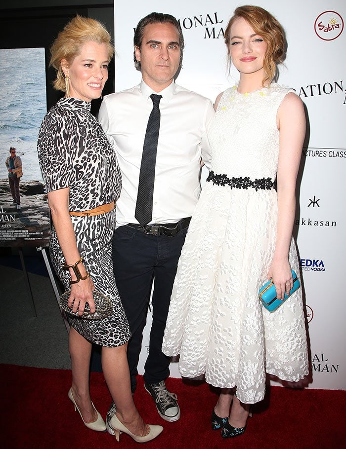 "Parker Posey, Joaquin Phoenix, and Emma Stone at the premiere of ""Irrational Man"" in Los Angeles on July 9, 2015"