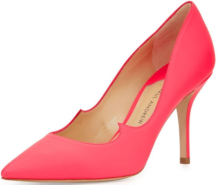 Paul Andrew Rubberized Patent Leather Signature Pumps in Neon Rose