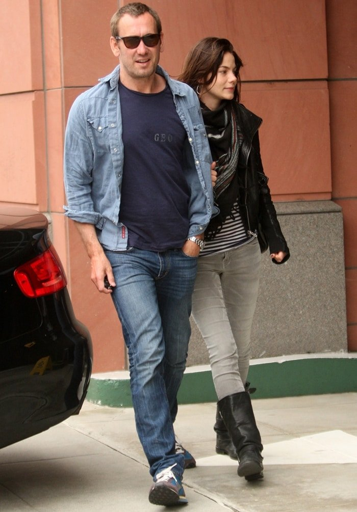 Graphic artist Peter White and Michelle Monaghan going to the medical center