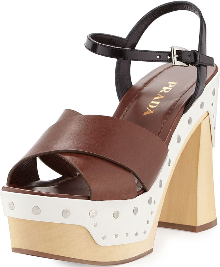 Prada Colorblock Clog-Bottom Sandal
