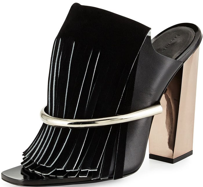 Proenza Schouler Leather Fringe Banded Mules in Black