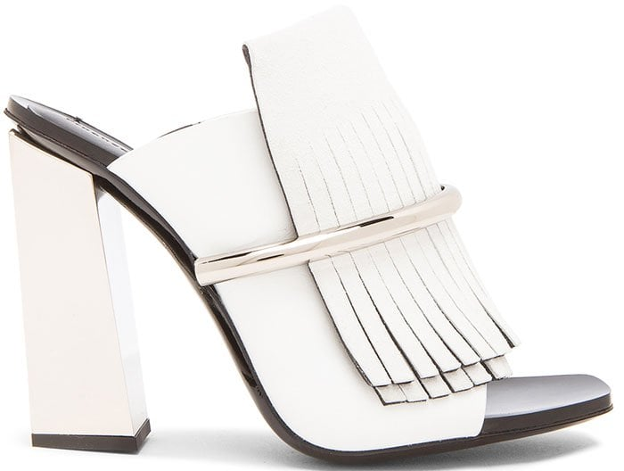 Proenza Schouler Leather Fringe Mules White