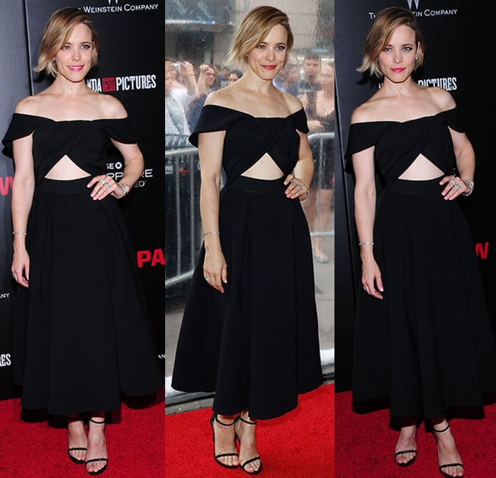 "Rachel McAdams looks happy to be posing at the New York premiere of her new movie ""Southpaw"""