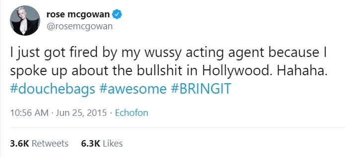 Rose McGowan was fired by her agent for speaking out against sexism