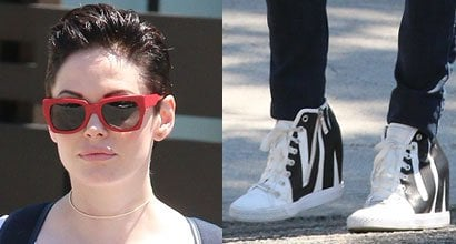 4ca128844e700 Rose McGowan Heads to a Meeting in DKNY Wedge Sneakers After Being Fired by  Agent for Speaking Out Against Sexist Casting Call