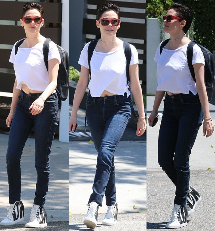 Rose McGowan leaving the UTA (United Talent Agency) headquarters rocking a pompadour and a pair of DKNY sneaker wedges