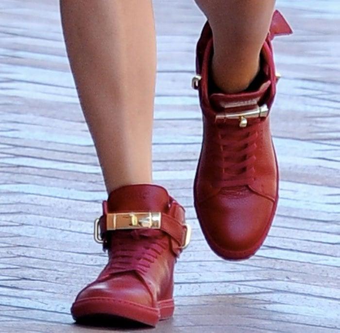 Ruby Rose's feet in Buscemi wedge sneakers