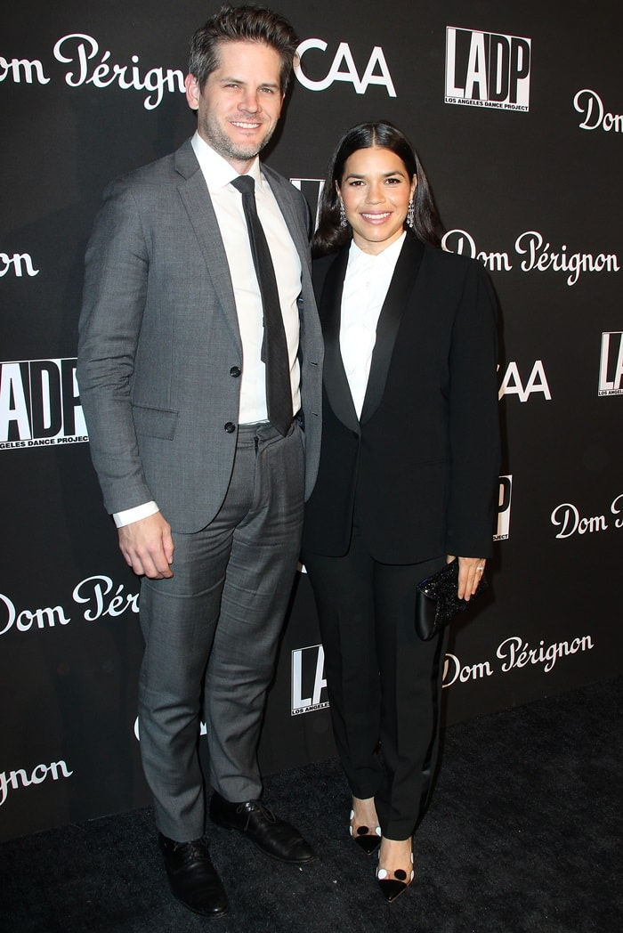 Ryan Piers Williams poses with his wife America Ferrera at the 2018 L.A. Dance Project's Gala at Hauser & Wirth in Los Angeles on October 20, 2018