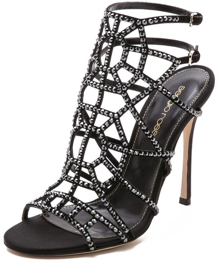 Sergio Rossi Satin Puzzle Sandals - Black