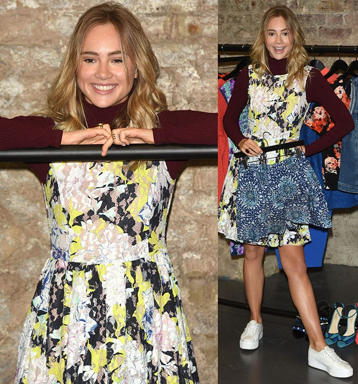 Suki Waterhouse looked lovely in a floral dress with white sneakers
