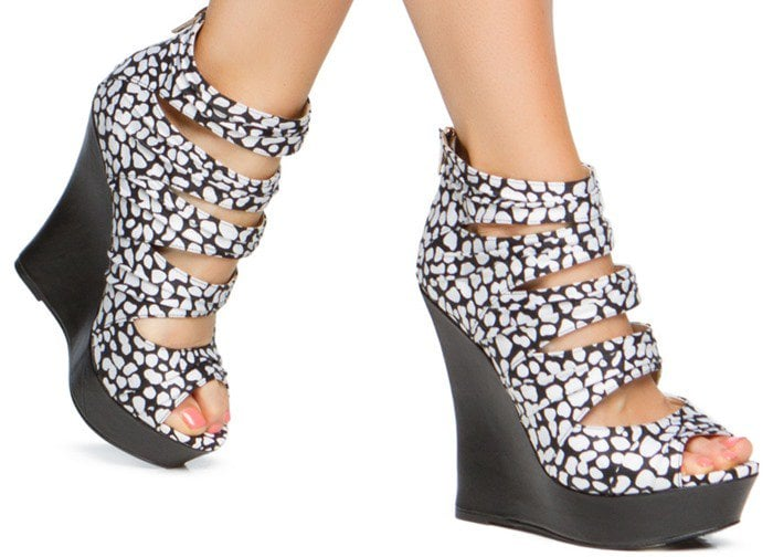 Fabric and Faux-Leather Wedges